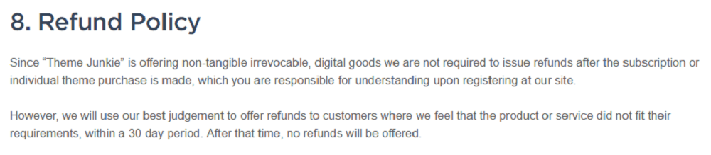 Theme Junkie Refund Policy