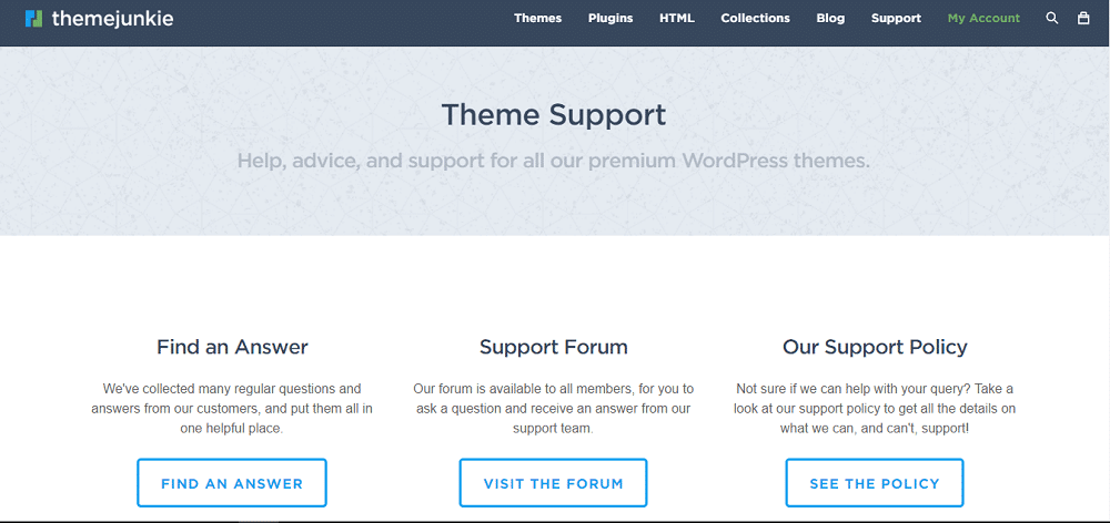 Theme Junkie Support