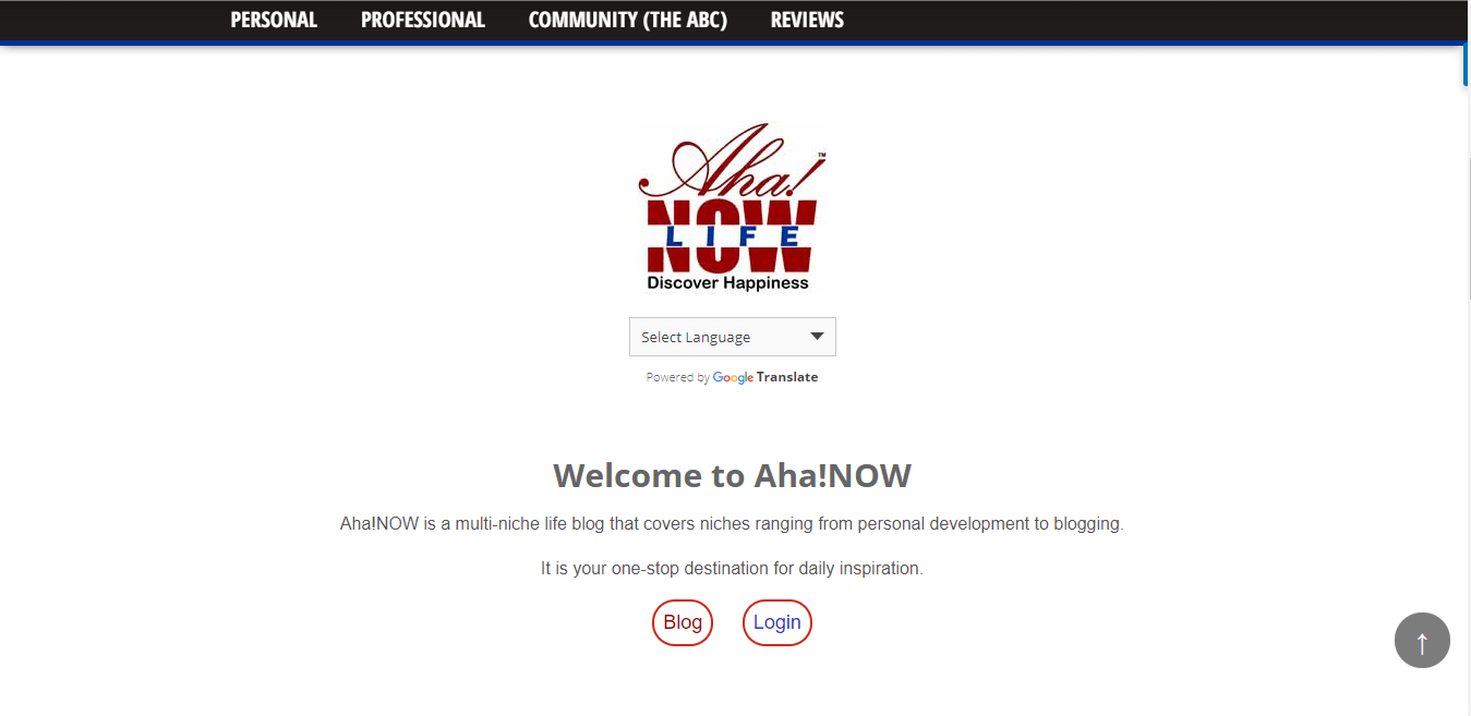 AhaNOW Homepage Screenshot