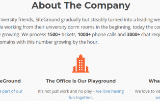 SiteGround About the Company Screenshot